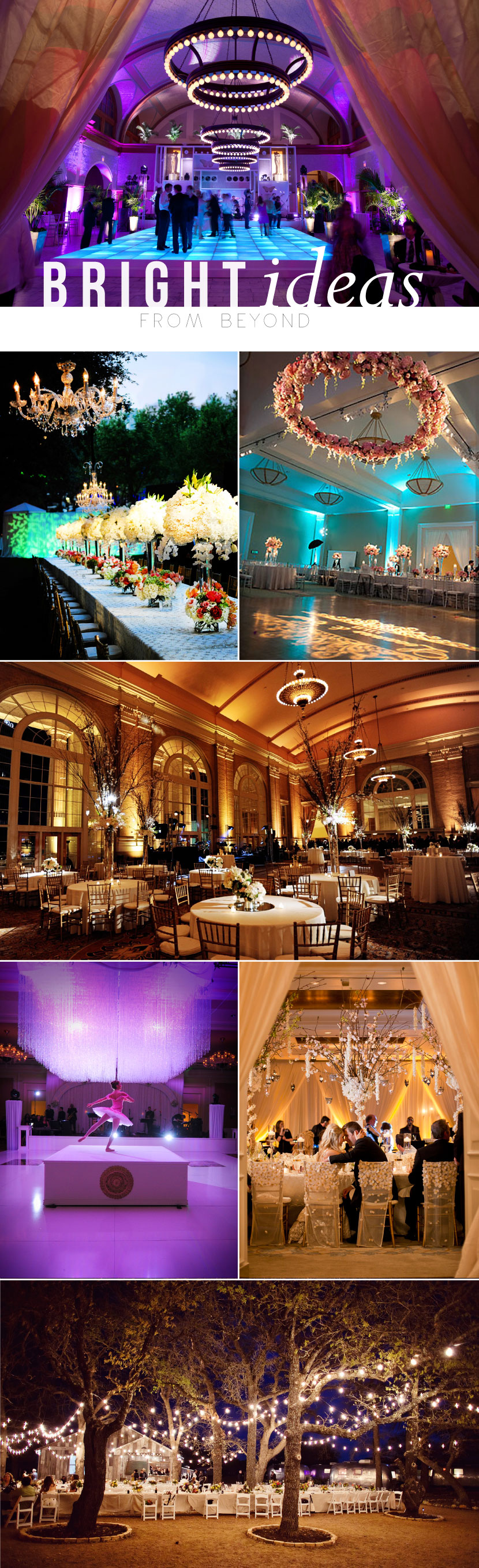 When it comes to lighting your event, Beyond — a Dallas-based company that specializes in lighting and videography — is the source! Check out Brides of North Texas blog for more on this ever so talented company!     Photos from top to bottom, left to right: Karlisch Photography, Andrea Polito Photography, Randy + April Wedding Photography, Andrea Polito Photography, Edmonson Weddings, Karlisch Photography, Two Pair Photography  #wedding #lighting #chandeliers #ballroom #outdoor #string…