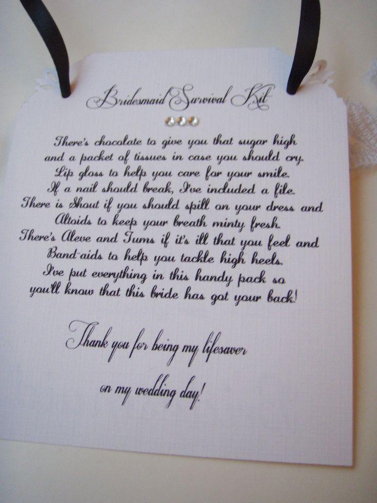 Bridesmaid Survival Kit Poem