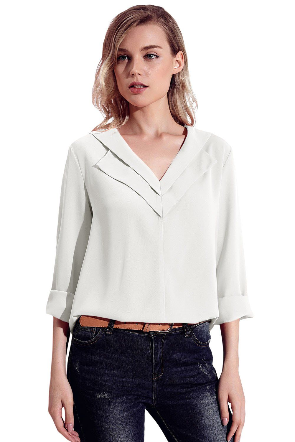 47e4ef72272 •Preppy style collared blouse for women •Made from soft lightsome chiffon  fabric •V neck