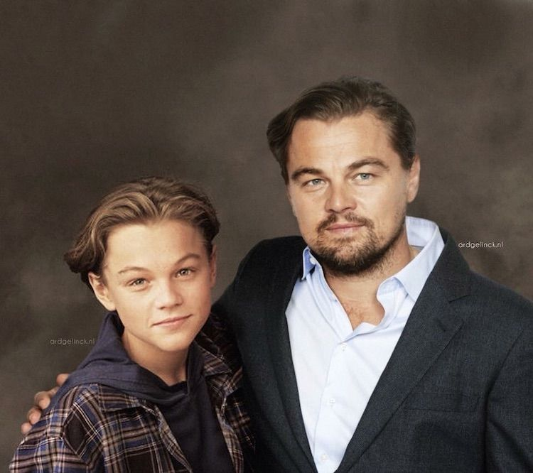 25 Photos Of Celebrities Posing With Their Younger Selves Celebrities Then And Now Leonardo Dicaprio Richard Gere