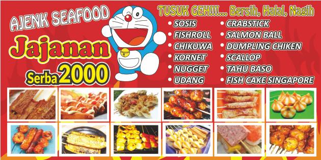 Cetak Spanduk Seblak Sosis Bakar Makanan Custom Murah Sosis Makanan Desain Banner