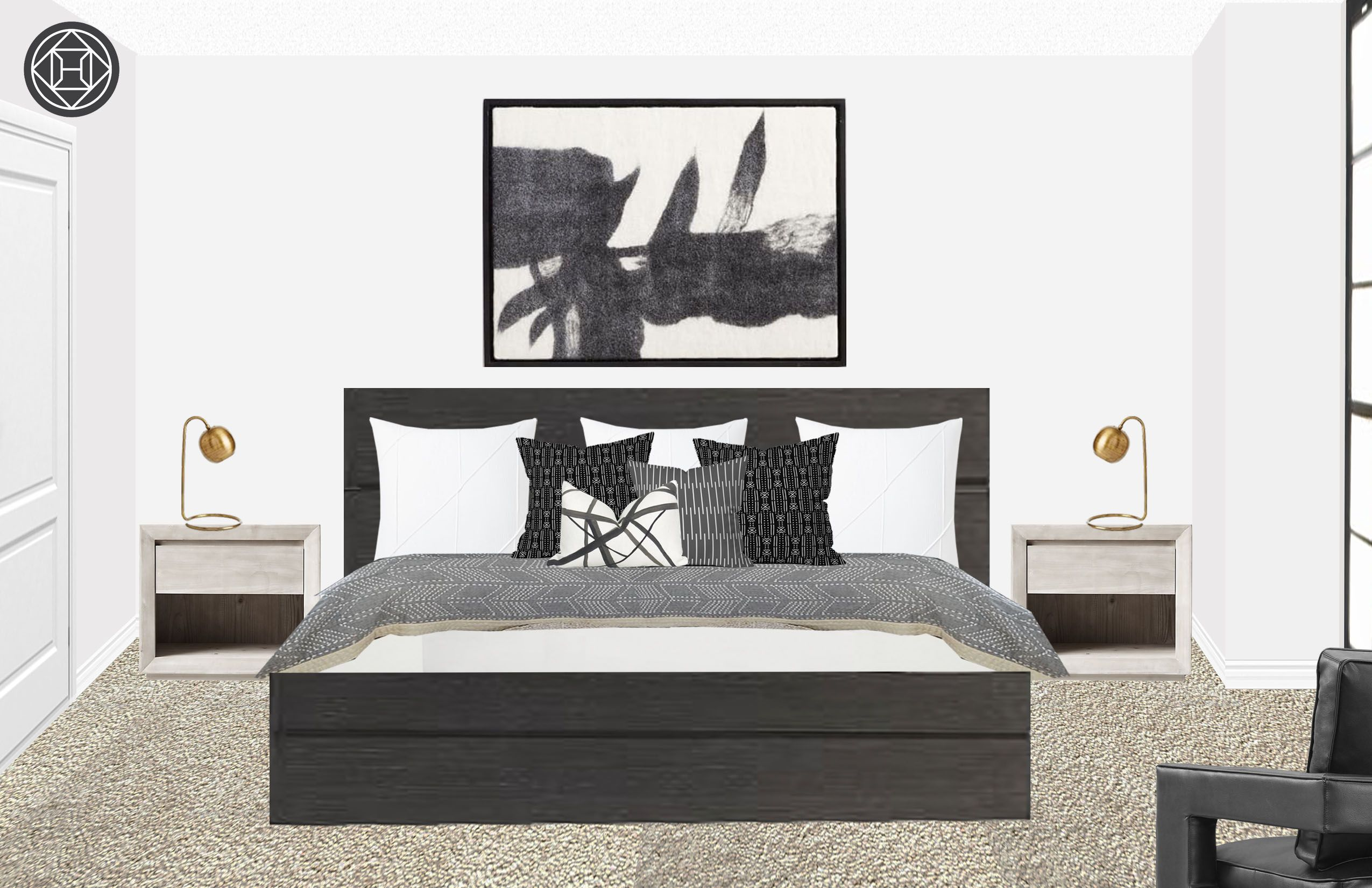 Modern, Eclectic, Industrial Bedroom Design by Havenly