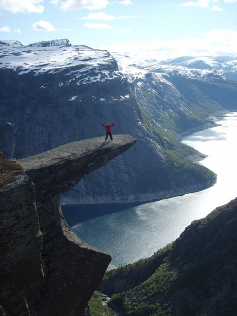 700 metres above the lake. Never forget, beautifull and dangerous NORWEGIAN TROLLTUNGA!!!My husband on the Trolls tongue. I always say -Norway is full of the most beautifull places:) – Diana K.