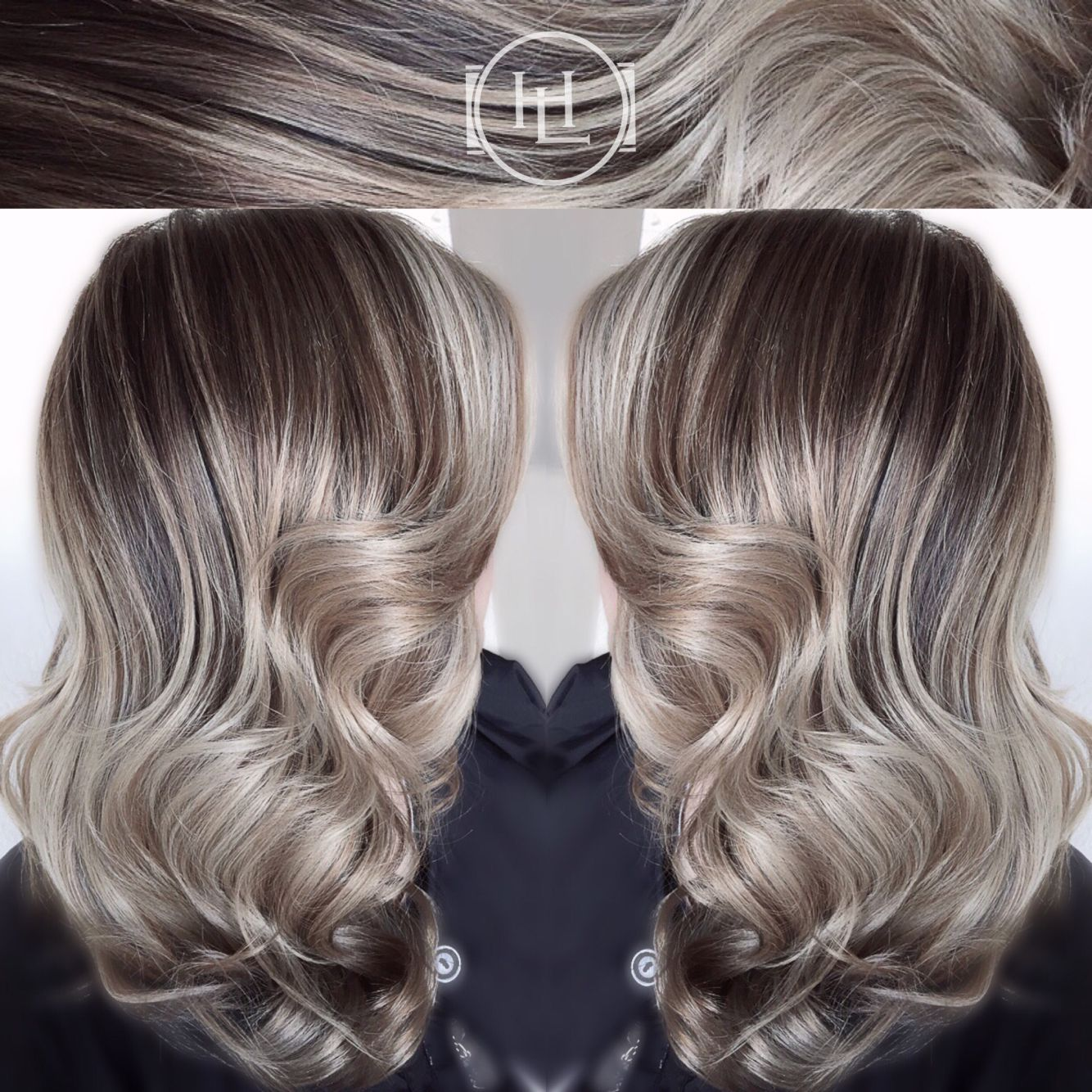 Ash Pearl Blonde Long Hair Soft Curls Balayage Ombre With