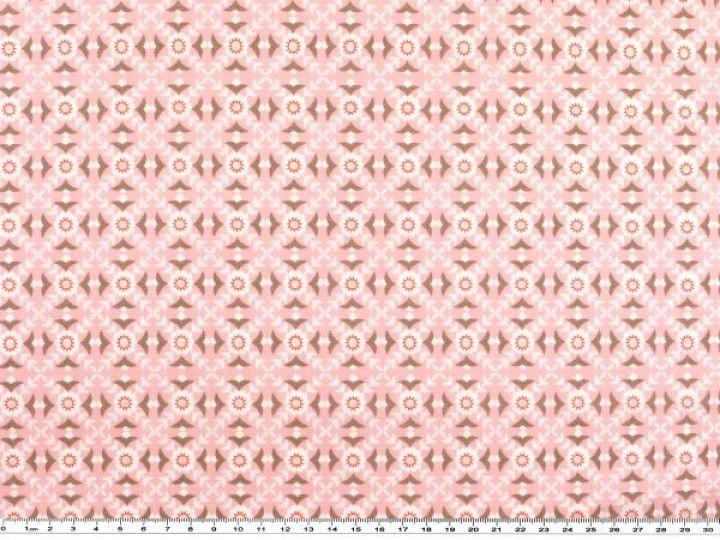 Baumwoll Druck Blumen Geometrie Rosa 142 145cm Popeline Stoff Bekleidungsstoffe Baumwolle