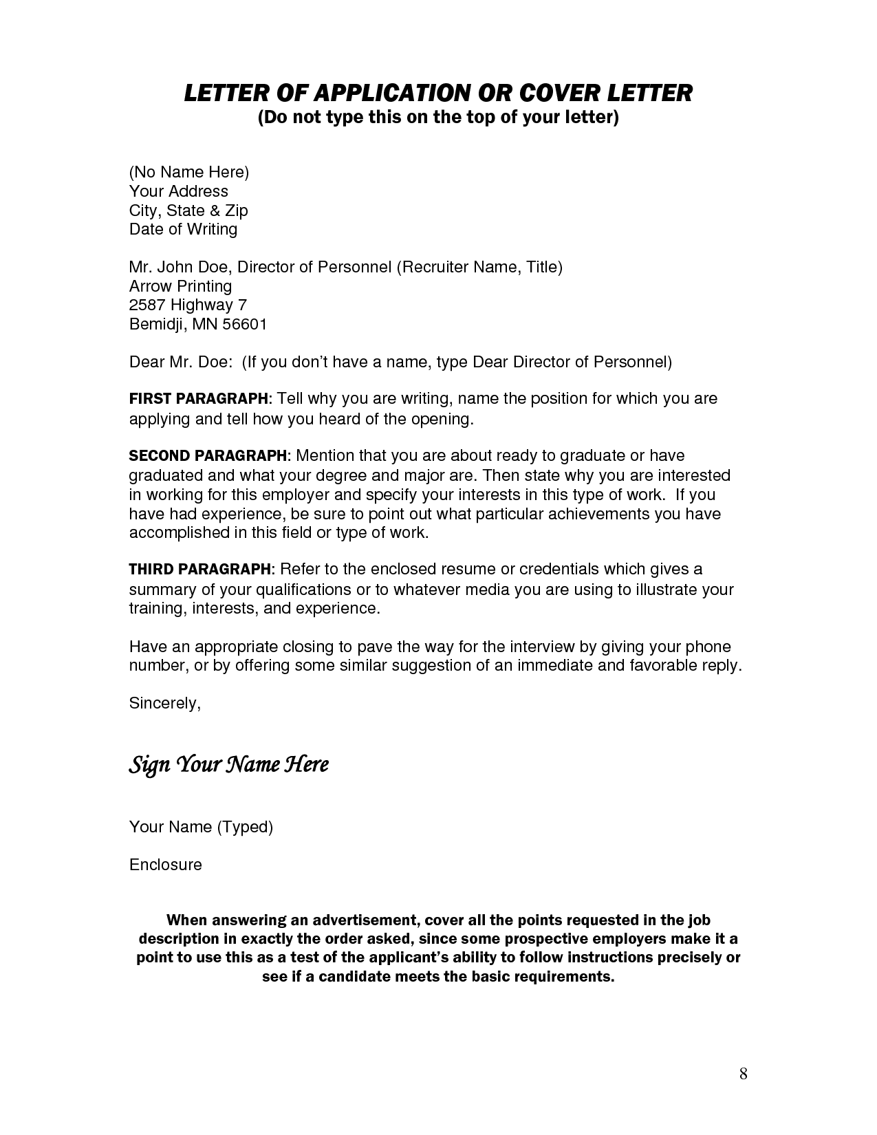 Cover Letter Template No Name English Cover Letter For