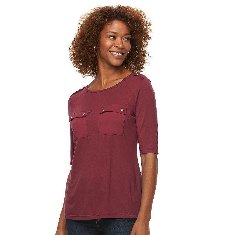 Women's Croft & Barrow® Solid Pocket Tee, Size: Medium, Dark Red