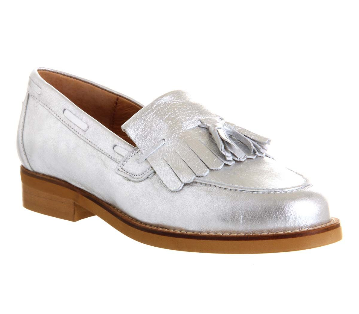 Office Extravaganza Loafer Silver Leather Flats