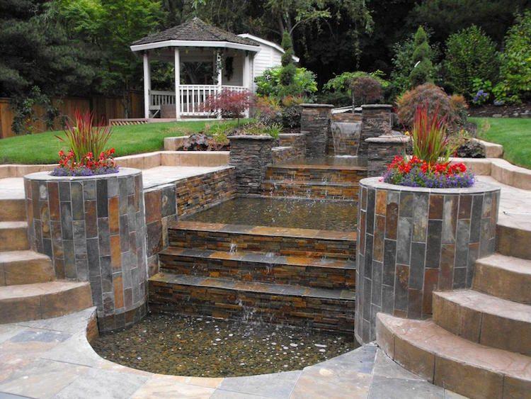 Fantastisch Wasserkaskaden Garten Modern Mediterran Sandsteinplatten Verkleidung