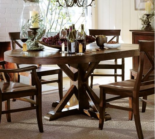 Benchwright Extending Pedestal Dining Table Rustic Mahogany Stain Pottery Barn