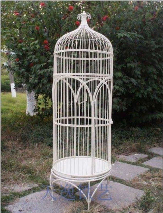 Large Birdbrains Tieyi French Birdcage Outdoor Bird Cage Decoration Props White Rustic Supplies 20120