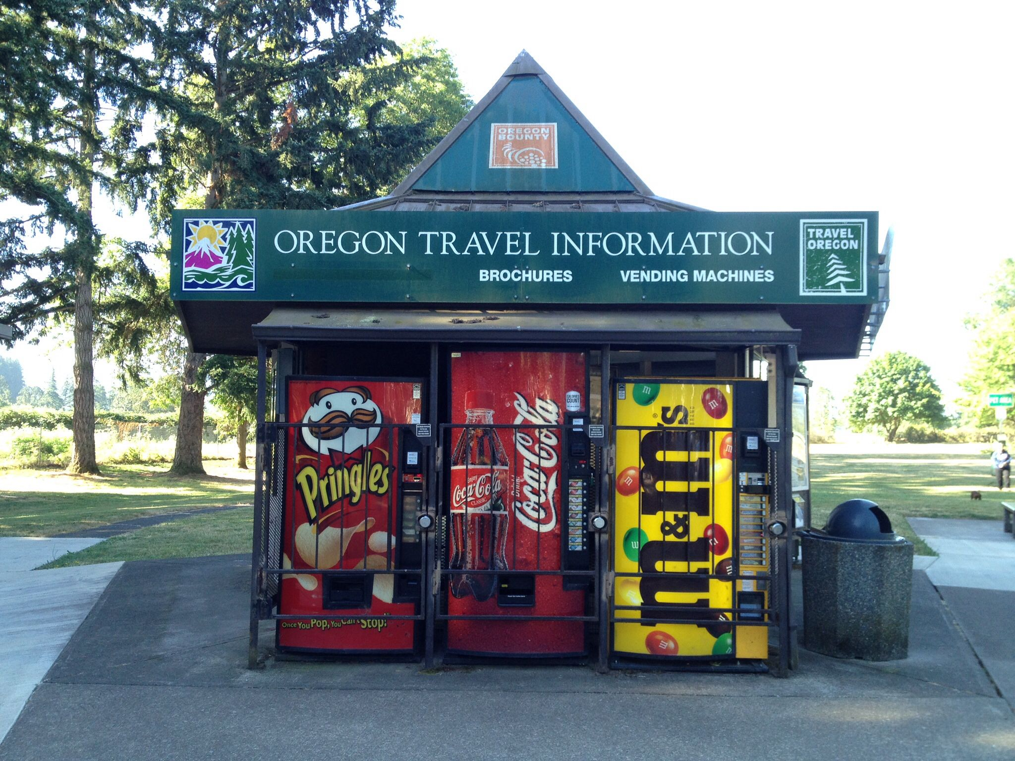 Rest Area off of I5 in Oregon, WA.   Never seen a Pringles or an M&M's vending machines before.