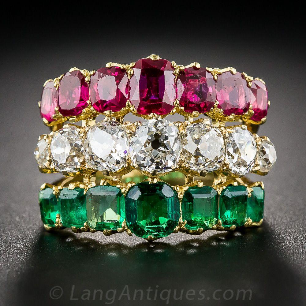 Antique Diamante, Rubí y Esmeralda 3-en-1 Ring - 30-91-5365 - Lang Antigüedades