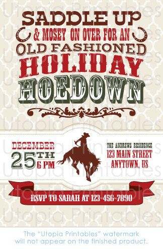 Holiday Hoedown Christmas Invitation Country Western Cowboy Hoedown Western Christmas Party Western Christmas