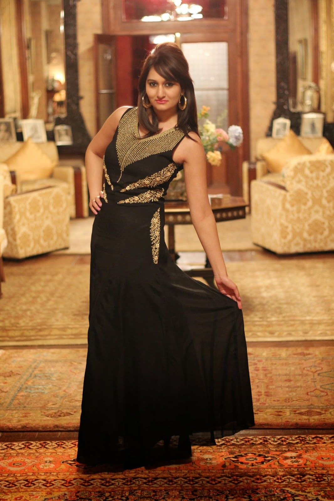 Long Black Gown With Gold Accents Gowns Of Elegance Black Gown Gowns [ 1600 x 1066 Pixel ]