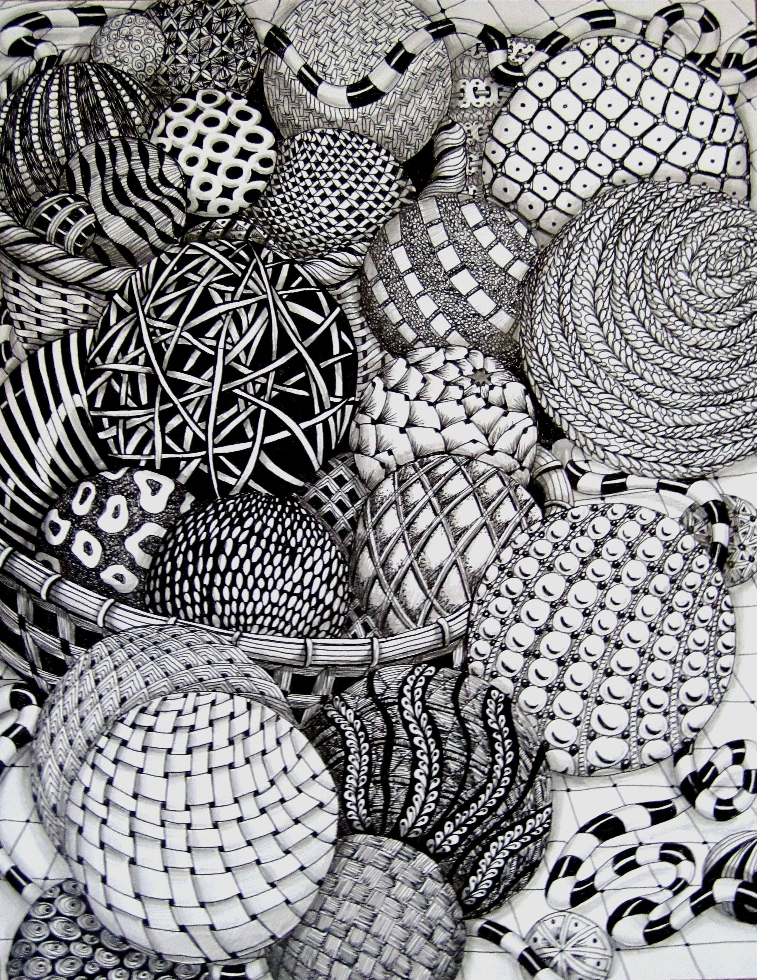 Zentangle balls by missyliss create doodles for Art drawing ideas for adults