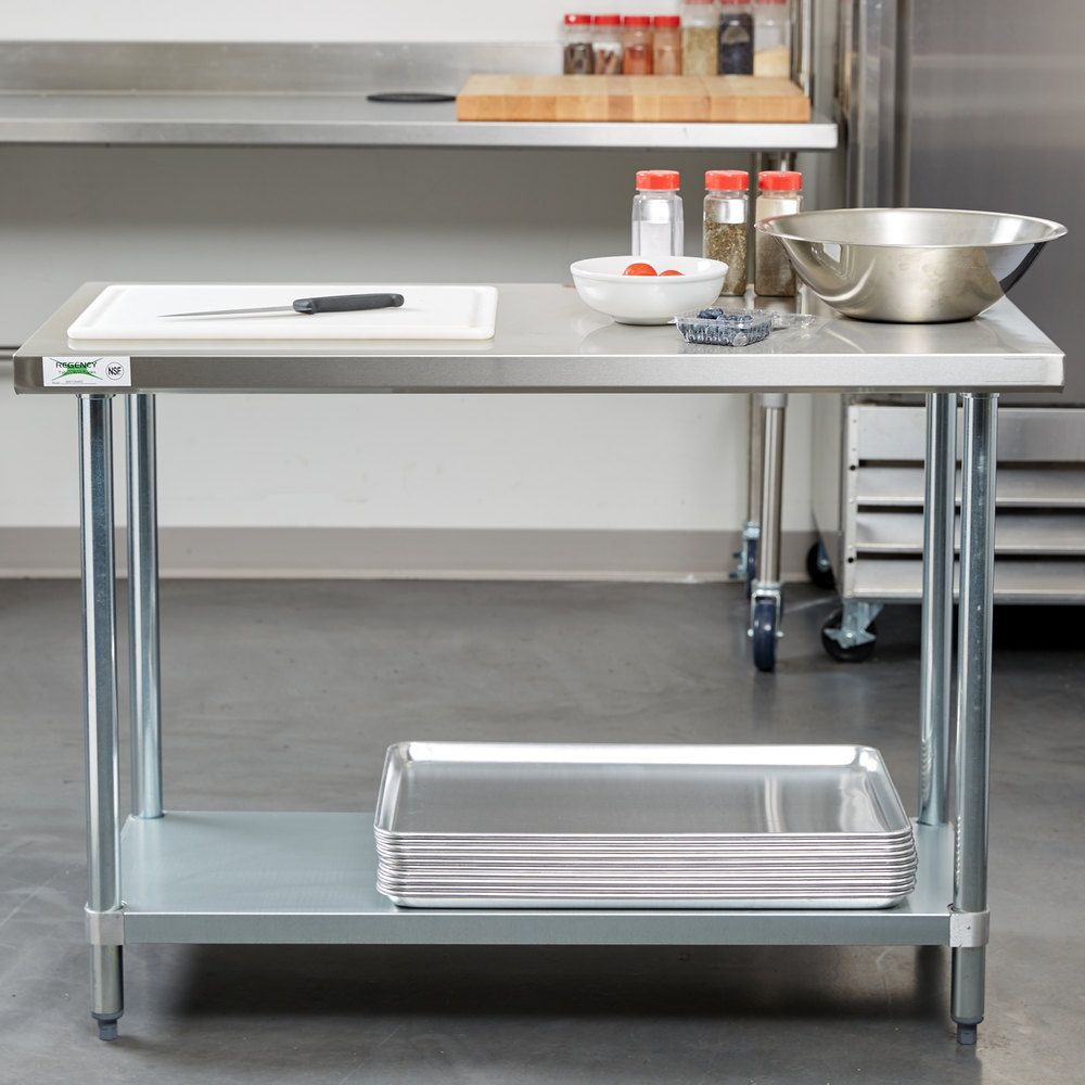 Regency X Gauge Stainless Steel Commercial Work Table - Stainless steel table 18 x 24
