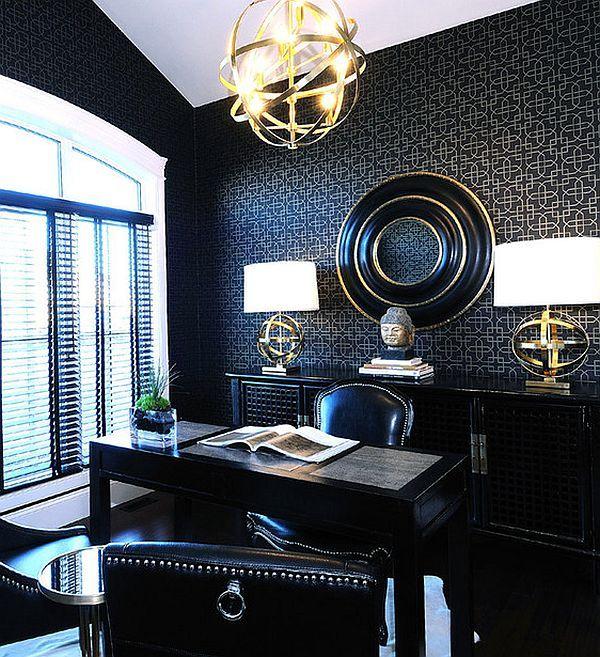 Innendesignideen für anspruchsvolles Heimbüro | schwarzes Büro ...