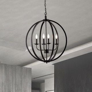 Shop for Benita Antique Black Metal Orb Chandelier with 4 Lights ...