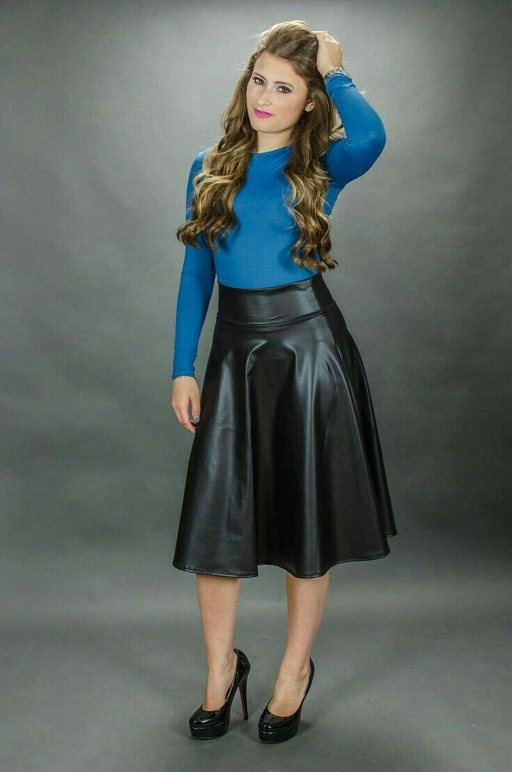 Pleated Leather Midi Skirt Dress Me Black And