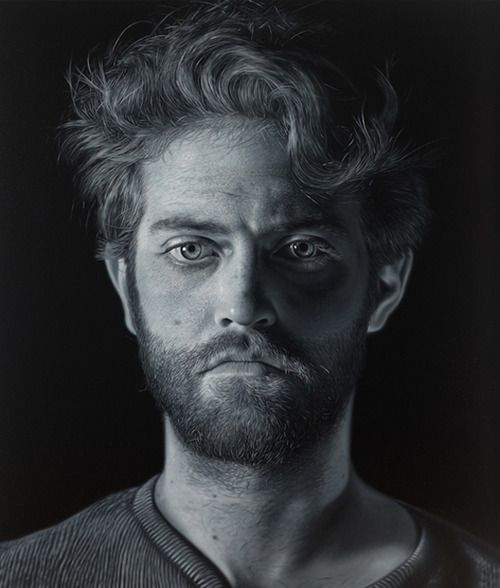 Black and white portrait paintings by charles bierk