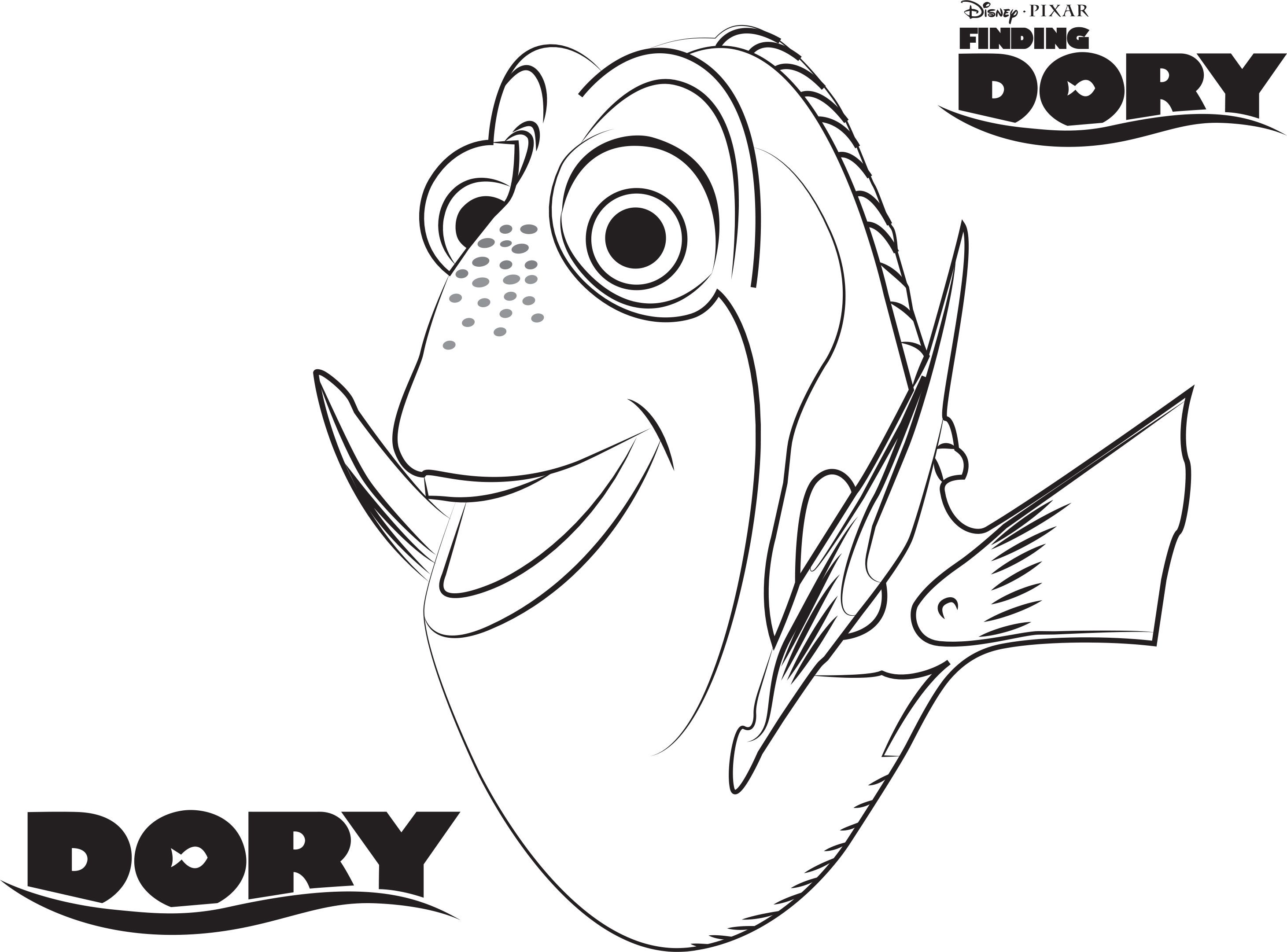 Dory - Finding Dory Printable Coloring Page  Nemo coloring pages