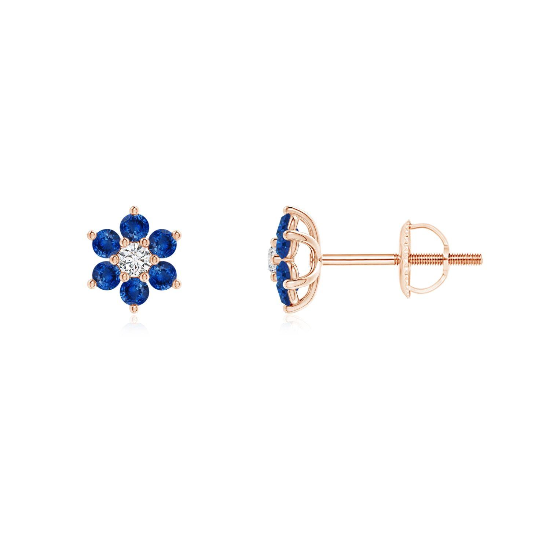 Six Petal Diamond And Sapphire Flower Stud Earrings Angara Blue Sapphire Jewelry Blue Stud Earrings Flower Earrings Studs