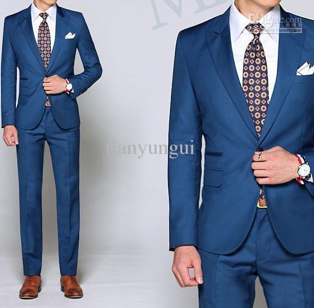Custom Made To Measure Men Suits,Dark Blue Men Tuxedo With Peak ...