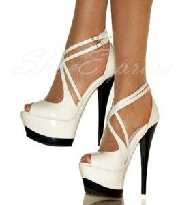 546f7aacb39 WOMENS very light cream  HIGH HEEL ANKLE STRAP PLATFORM SHOES size ...