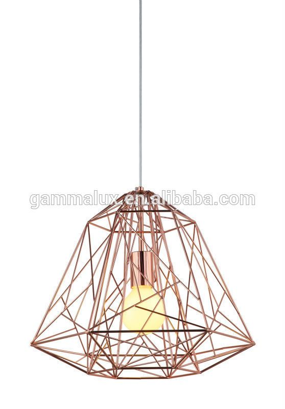 New Design E27 Wire Pendant Lighting Diamond Bird Cage Light Copper Lamp