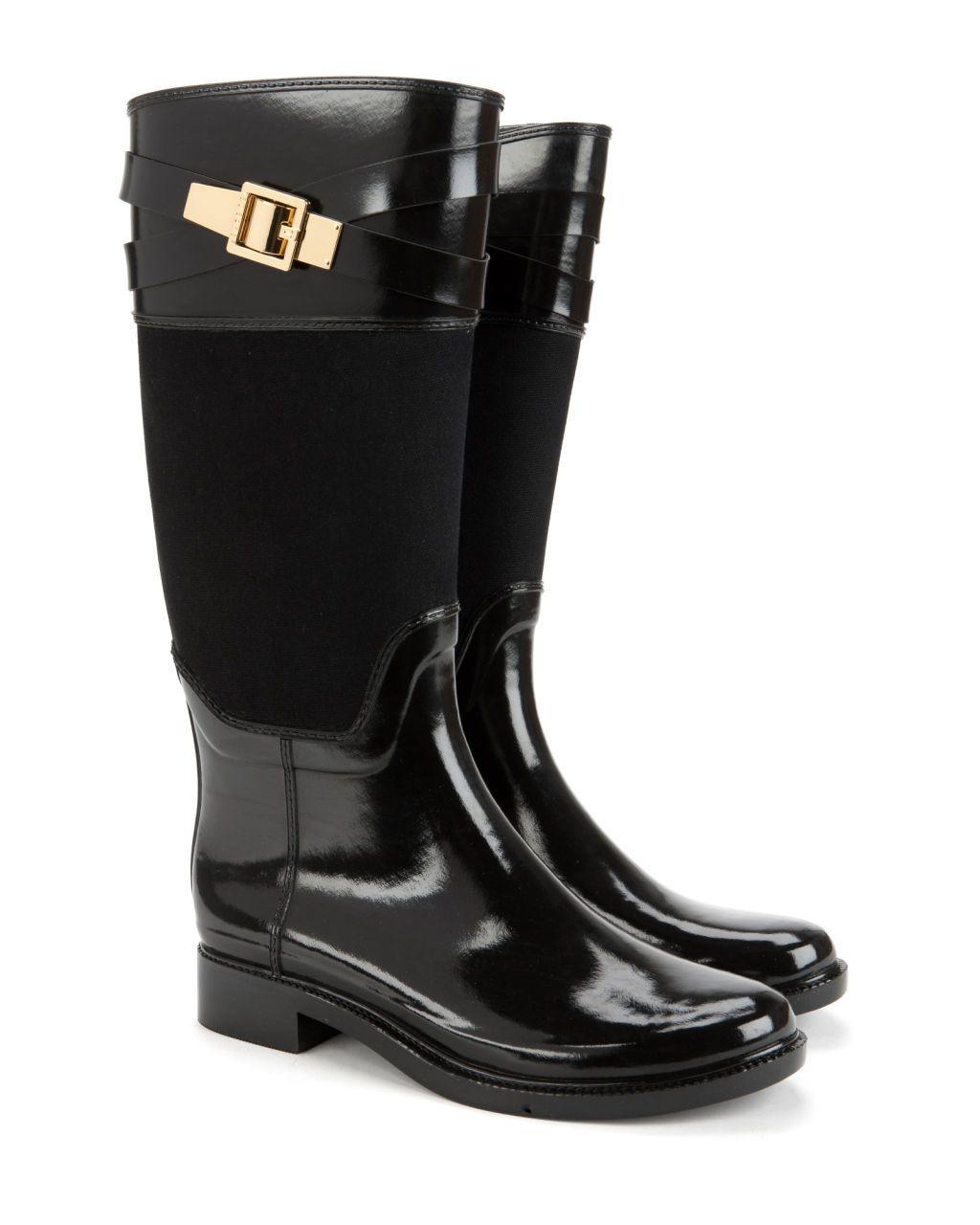 eb6f7cc15 Strap detail wellington boot - Black