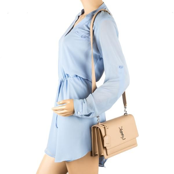 60d92e9fbf Saint Laurent Nude Grained Leather Medium Sunset Monogram Bag (New ...