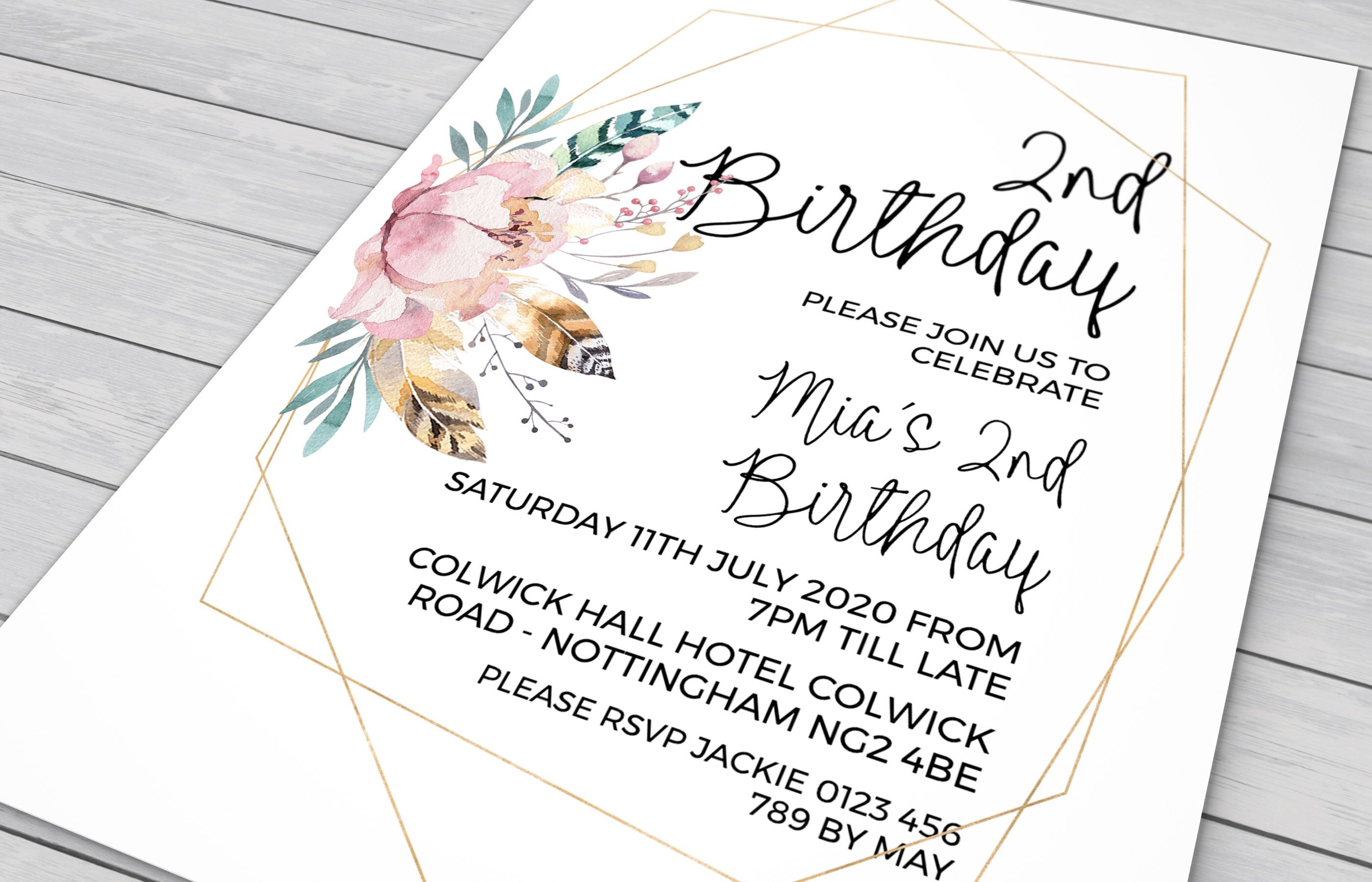 2nd Birthday Invitation In Watercolor Flowers Birthday Invitation