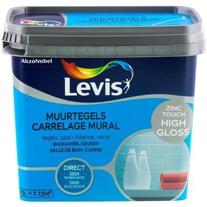 Peinture Levis \u0027Carrelage Mural\u0027 High Gloss Zinc Touch 750 ml High - peinture pour carrelage mural
