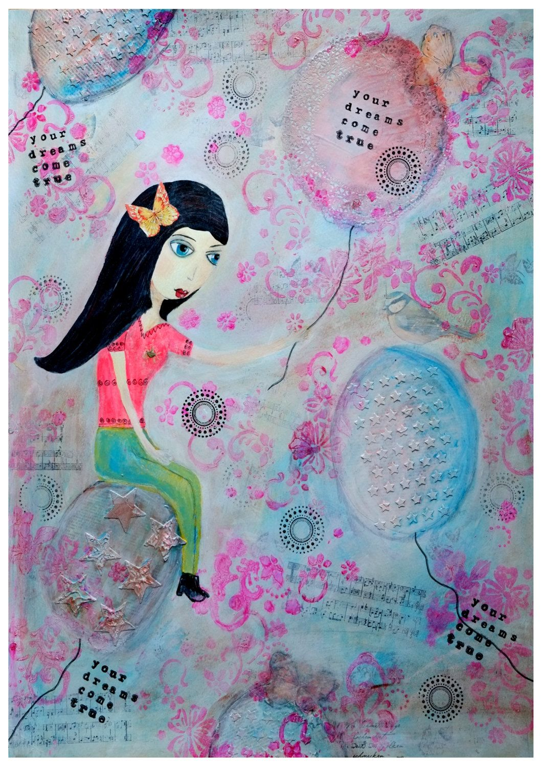 """Giclee Art Print - Giclee print - Print of the original painting """"Your Dreams Come True"""" woman portrait whimsical dream girl - pinned by pin4etsy.com"""