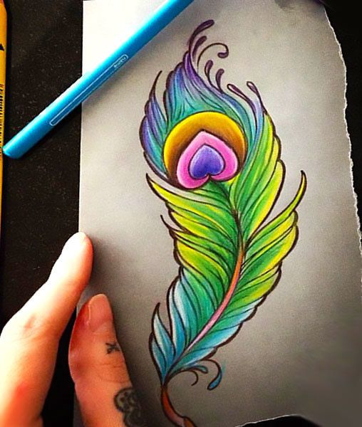 Tattoo Ideas Peacock: Colorful Peacock Feather Tattoo Design