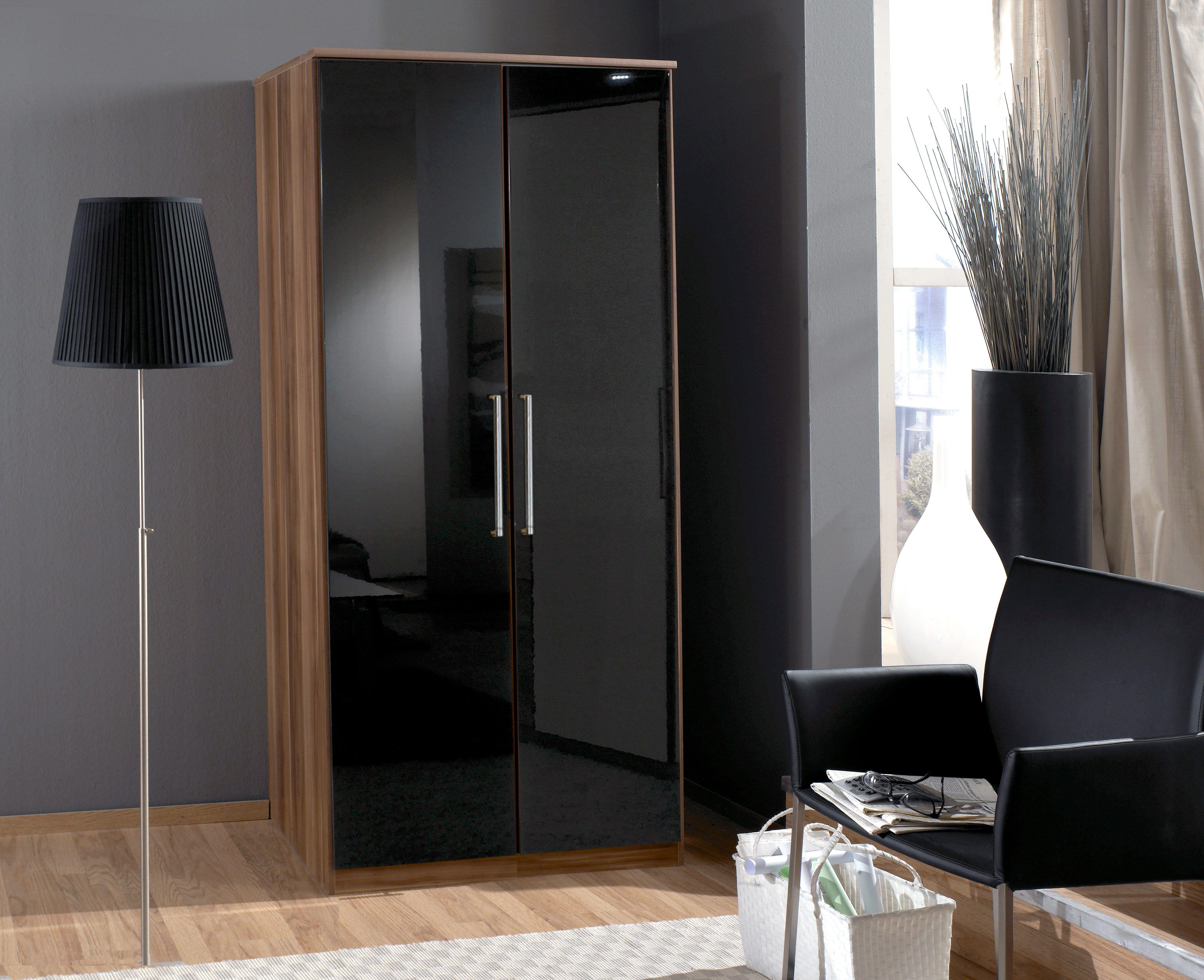 Buy Black and Walnut 2 Door Wardrobe Armoire Closet ...
