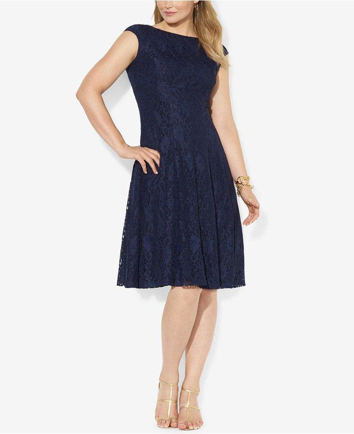 Lauren Ralph Lauren Plus Size Lace Cap Sleeve Dress Gradparty