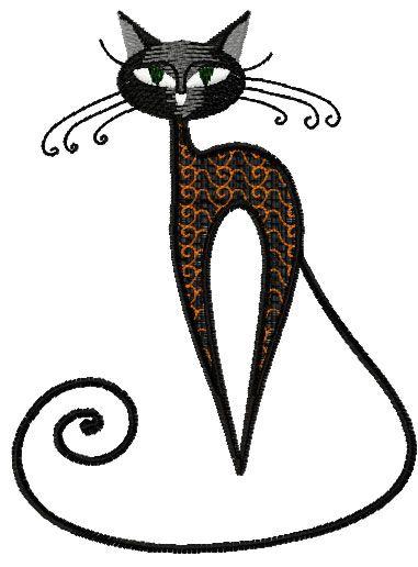 Very Strange Black Cat Free Embroidery Design Animals Free