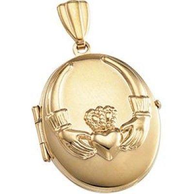 Claddagh Locket in 14k Yellow Gold
