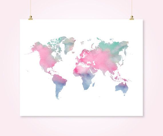 Watercolor world map printable download pink turquoise navy girl watercolor world map printable download pink by sunnyrainfactory gumiabroncs Images