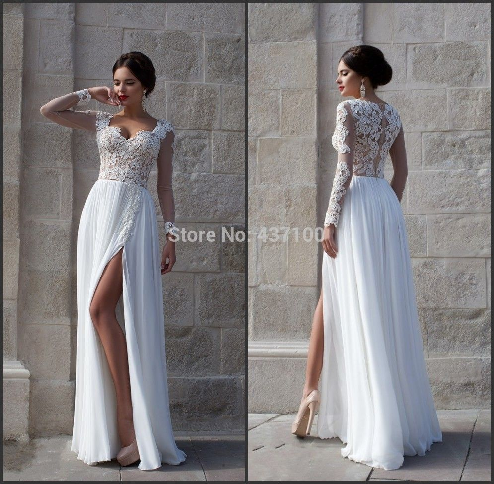 Find More Wedding Dresses Information About Elegant Maternity Lace Dress Bride Long Sleeves Slit White