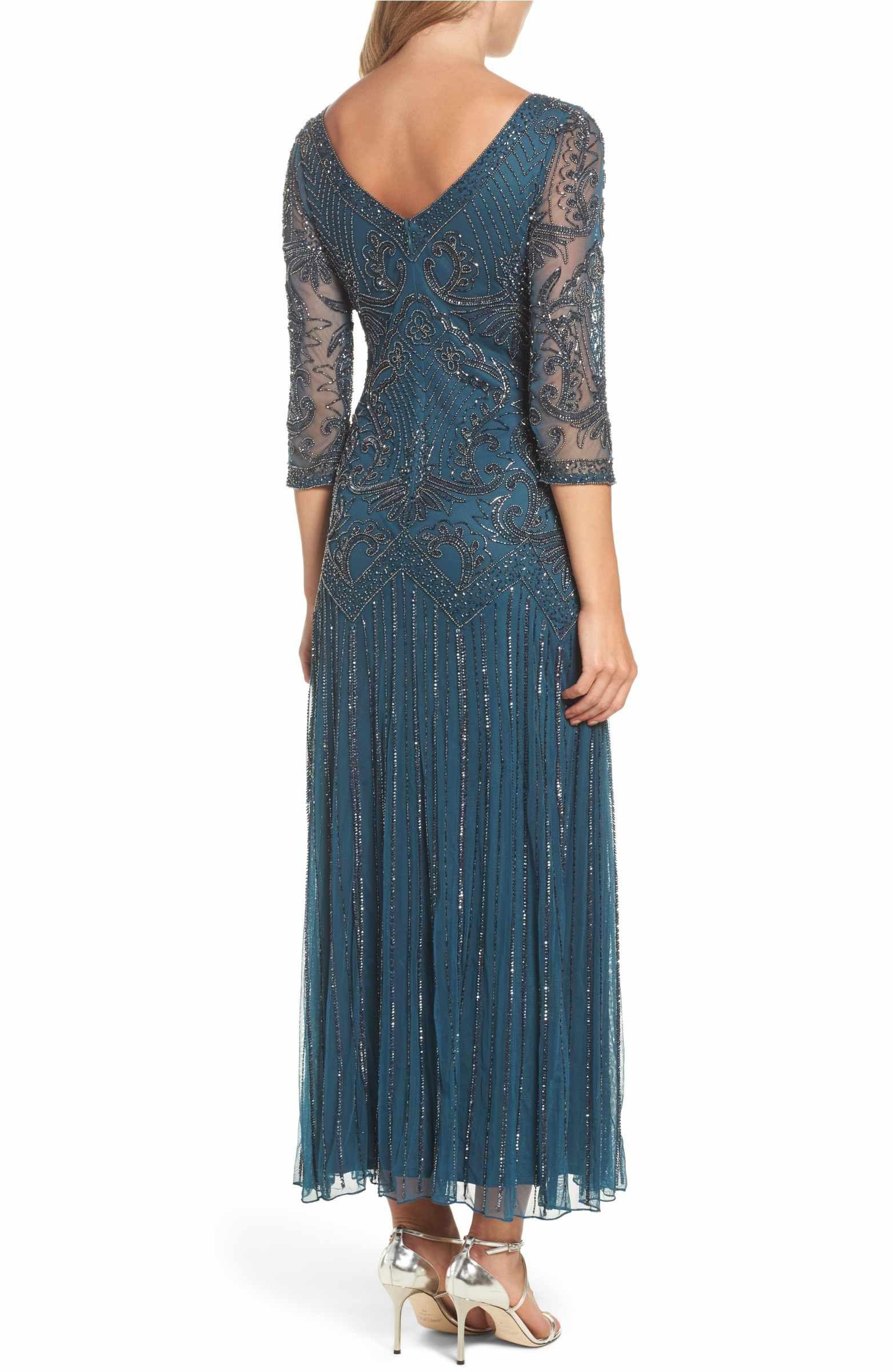 Petite dresses with sleeves for weddings  Main Image  Pisarro Nights Embellished Mesh Drop Waist Dress