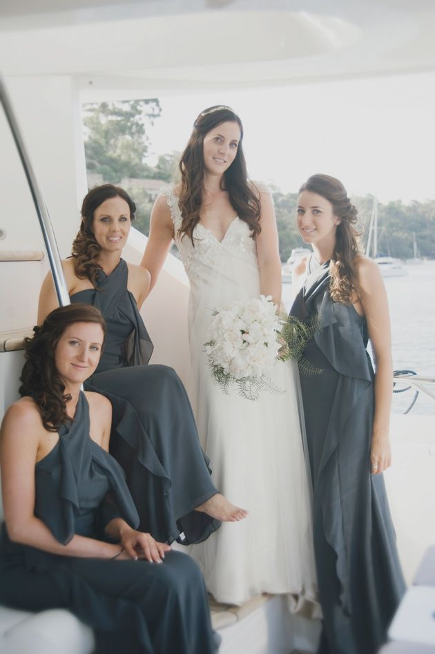 Love The Wedding Gown And Bouquet Too Chic Champagne Yacht Cruise In Perth Australia Cj Williams Photography