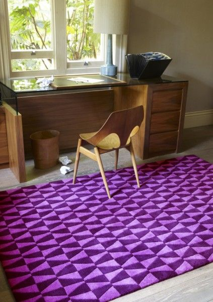 Mid century geometric purple carpet