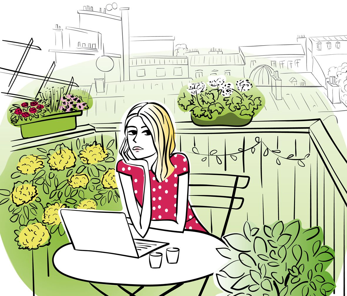 Femme ecrivain sur le balcon paris site web balcon - Dessin parisienne ...