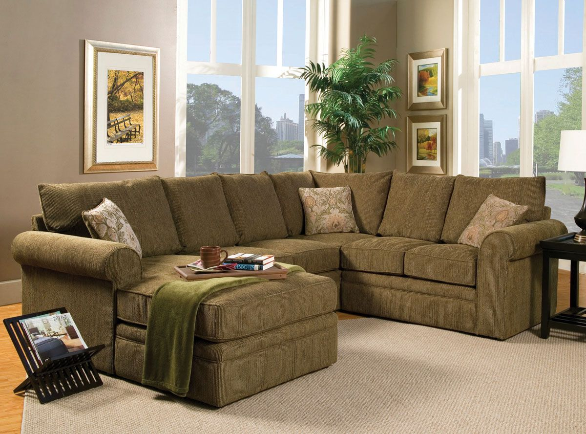 Small Gray And White Themed Living Room Decorating Ideas With Simple Brown U Shaped Fabric Sectional