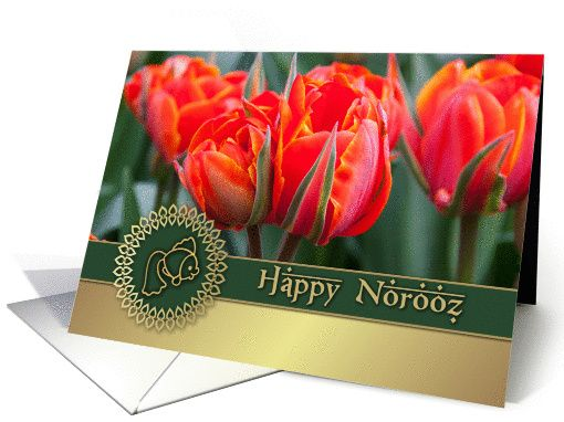 Happy norooz spring red tulip design persian new year greeting happy norooz red tulips persian new year card m4hsunfo Image collections