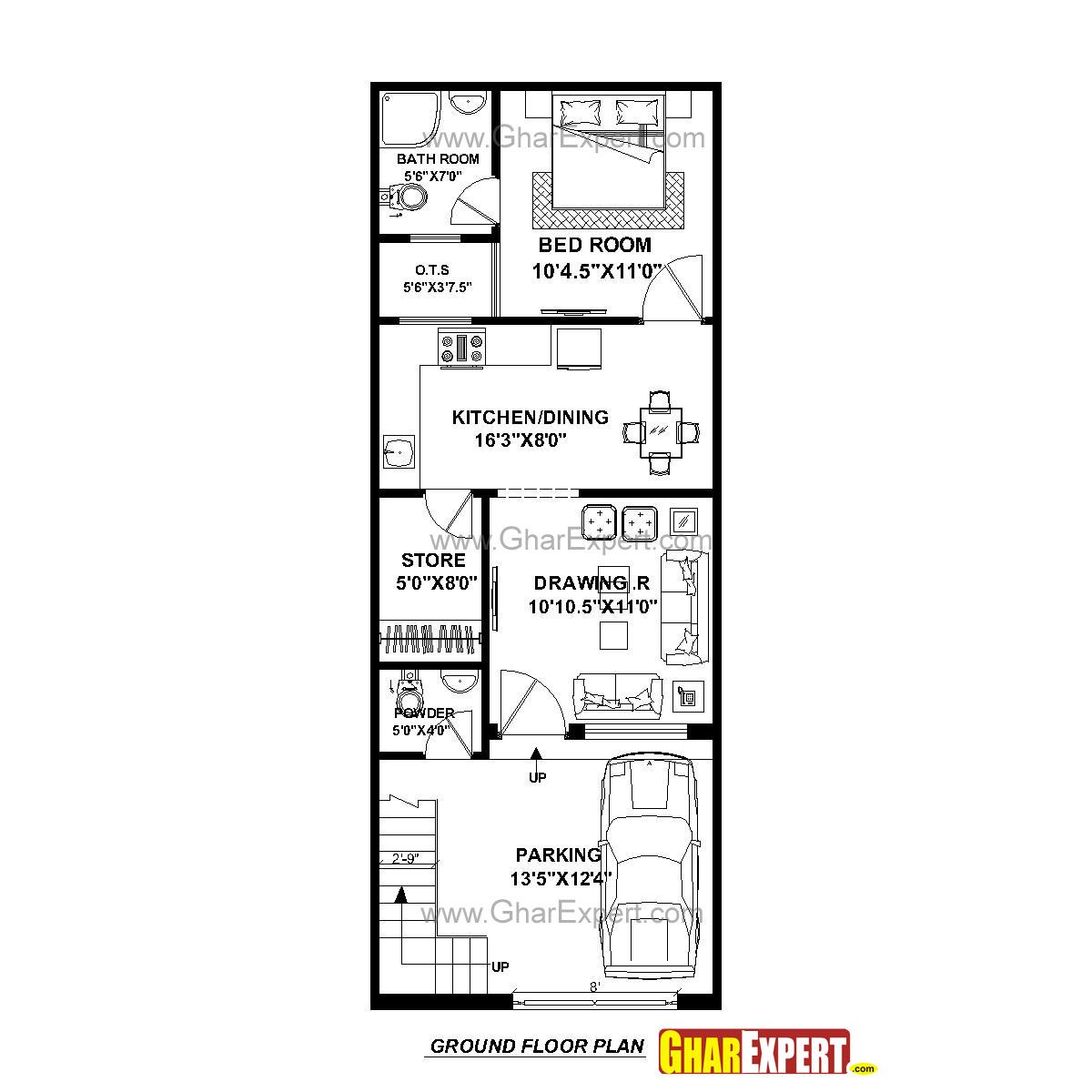 House Plan for 17 Feet by 45 Feet plot (Plot Size 85 Square Yards ...