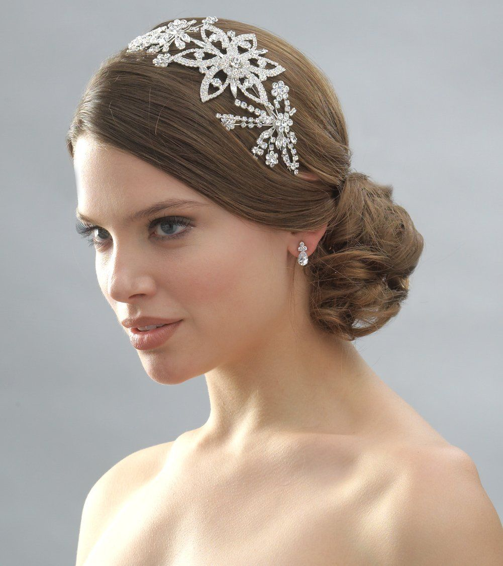 Crystal floral spray bridal headband bridal headbands